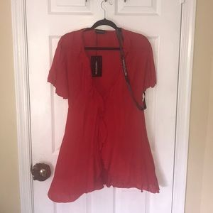 prettylittlething red wrap dress